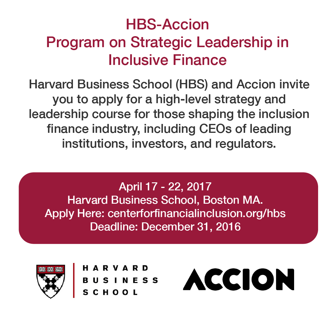 HBS-Accion Program on Strategic Leadership in Inclusive Finance